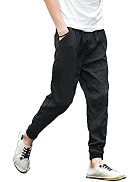 Minetom Hombre Verano Otoño Lino Pantalones Harem Pants Casual Joggers Trousers de Deportiva