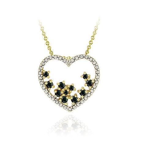 Or 18carats sur Argent sterling Saphir Grappe avec accents de diamant et cœur ouvert diapositive Pendentif