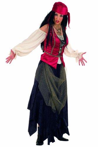 L - Damenkostüm Piratin 3-teilig (Rock-Tuch-Hemd mit Weste) (Piratas Disfraz Halloween)