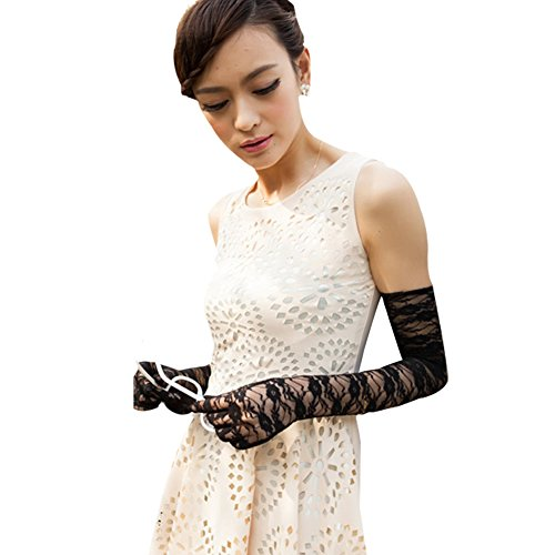 Oder Für Schwarze Weiße Spitzen Handschuhe Erwachsene (nappaglo frauen lange spitzen sonnencreme handschuhe vintage blumen für den sommer uv - schutz hochzeit fahren)
