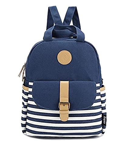 Unisex Fashionable Canvas Backpack School Bag Super Cute Stripe School College Laptop Bag for Teens Girls Boys Students Blue