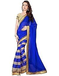 Saree By Saree Mandir Georgette Saree With Blouse Piece (Hit_Raj_Blue_Blue_Free Size)