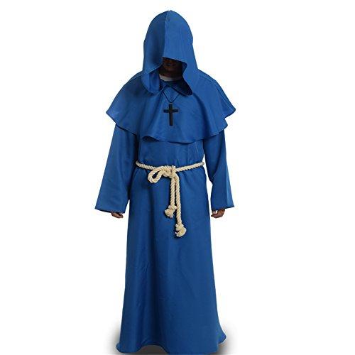 BLESSUME Priester Robe Mönch Mittelalterliche Kapuze Kapuzenmönch Renaissance Robe Kostüm (Blau) (Priester Roben Kostüm)