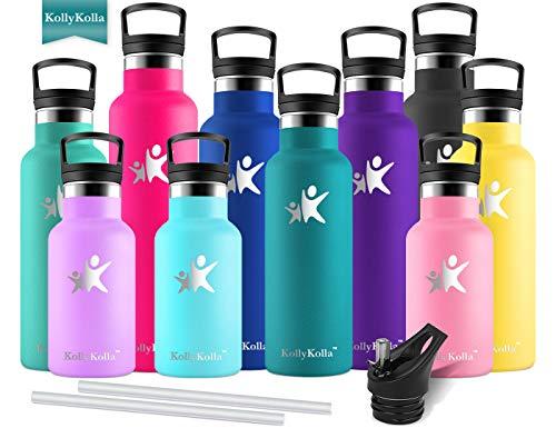 KollyKolla Vakuum-Isolierte Edelstahl Trinkflasche, 750ml BPA-frei Wasserflasche mit Filter, Thermosflasche für Kinder, Mädchen, Schule, Kindergarten, Sport, Wandern, Camping, Outdoor, Dunkelgrün