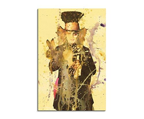 Paul Sinus Art Johnny_Depp_Mad_Hatter_90x60-SA Wandbild Leinwand, 90 x 50 x 3 cm, mehrfarbig (Johnny Depp Mad Hatter)