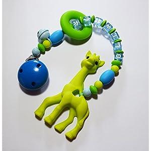 Spielkette mit Namen Beißkette aus Silikon mit Giraffe in grün und blau mit Glöckchen und Ring