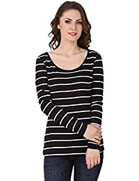 0564d50be641e TEXCO Black and White Striped Full Sleeves Women Tops