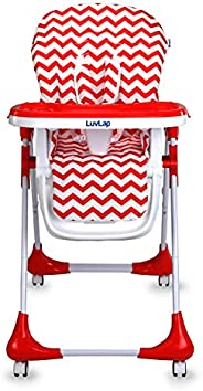 Luvlap Royal Highchair with 7 Height Levels, 3 Position Seat Recline and Wheels, Red