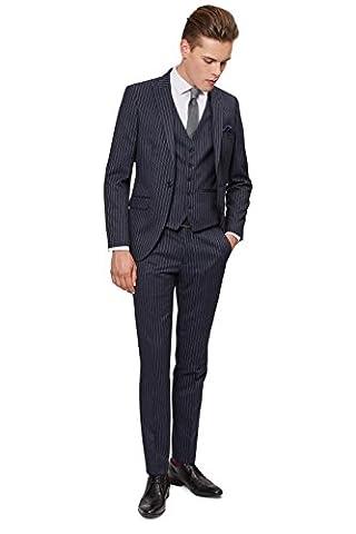 Moss London Men's Skinny Fit Navy Pinstripe Suit Jacket 38R Blue