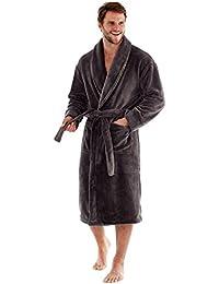 Harvey James Hombre Coral Fleece Robe 300G/m² Azul Marino, Negro o Gris