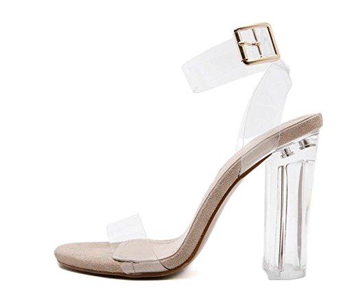 Mme hauts talons des sandales de mot de passerelle avec boucle pantoufle de verre transparent épais apricot