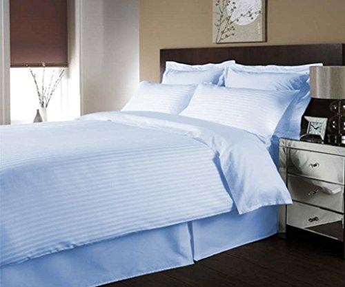 scalabedding 600Fäden/cm² Ägyptische Baumwolle de Luxe Streifen Bettbezug farblich und Decken Kissen KING SIZE/CAL König blau Himmel (Ägyptische Baumwolle Streifen-decke)