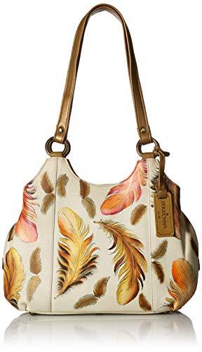 Anuschka Leather Handtasche mit drei Sektionen | Hanbemalte Lederhandtasche | Friedlicher Garten -