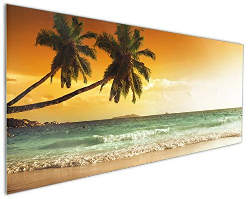 Wallario Küchenrückwand aus Glas, in Premium Qualität, Motiv: Palmen am Sandstrand bei untergehender Sonne | Spritzschutz | abwischbar | Pflegeleicht