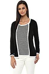 Annabelle by Pantaloons Womens Round Neck Cardigan _Black_S