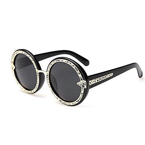 JUNHONGZHANG Sonnenbrille Gerahmte Brille Damen Sonnenbrille Reise Dekorative Brille Metall Sonnenbrille, Schwarz