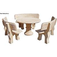 248dae7e736735 Ensemble table à manger de jardin en pierre artificielle avec fibre. Table  ronde + 3