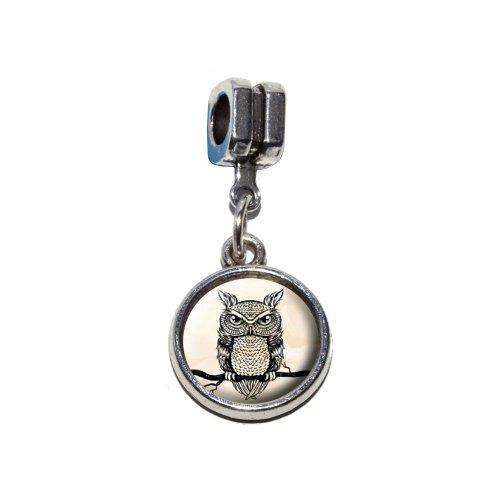 Rustikale Italienische (Eule auf Ast–Antik Rustikal Tribal Vogel Italienisches europäischen Euro-Stil Armband Charm Bead–für Pandora, Biagi, Troll,, Chamilla,, andere)