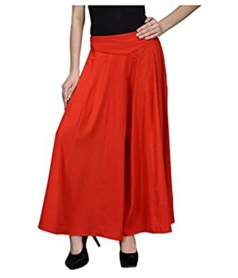 DAMEN MODE Women's Flared Pants (DMSP5000_Red_Free Size)