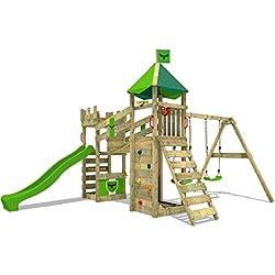 FATMOOSE Tour d'escalade RiverRun Royal XXL Aire de jeux Structure dŽescalade avec balançoire, pont suspendu, mur d'escalade et échelle d'escalade inclinée