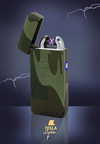 Tesla-Lighter T08 Lichtbogen Feuerzeug Elektro Double-Arc elektronisch wiederaufladbar. Aufladbar per USB mit Strom ohne Gas und Benzin. Mit Ladekabel in edler Geschenkverpackung (Ein Ganz Besonderes Geburtstagsgeschenk)
