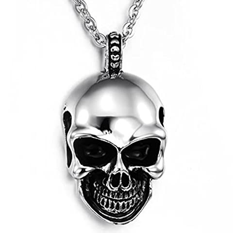 Konov Jewellery Mens Skull Tribal Gothic Stainless Steel Pendant Necklace,