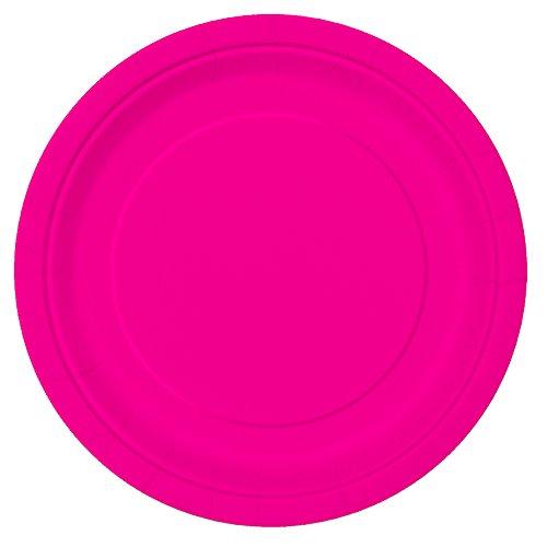 Unique Party- Paquete de 16 platos de papel, Color rosa neón, 23 cm (99135)