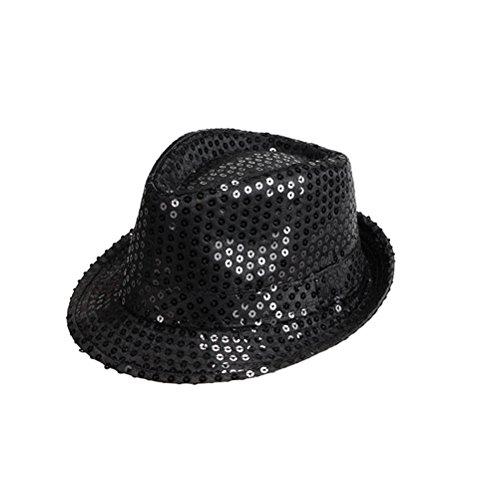 Tinksky Blinkende LED Fedora Hüte Glitter Pailletten Jazz Hüte Caps für Unisex Erwachsene Party Dress Up Kostüm Zubehör - Für Erwachsene Schwarz Glitter Kostüm