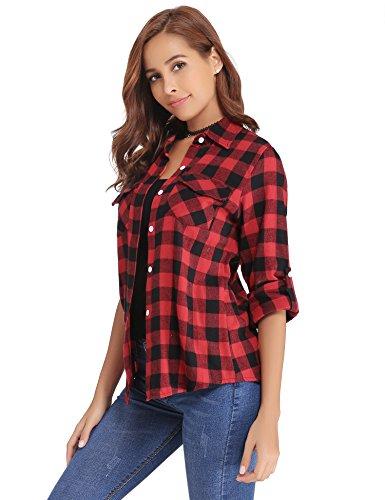 Abollria camicia donna di flanella a quadri classici bluse casual a maniche lunghe stile di boyfriend per primavera autunno inverno