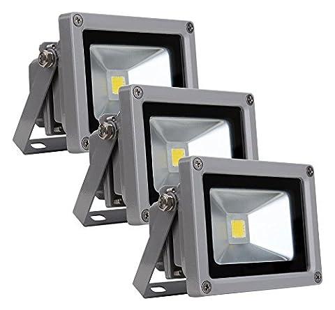 3x Showlite FL 2010LED Outdoor Flood Light Floodlight 10W 1100Lumens, 4500K, Daylight White,