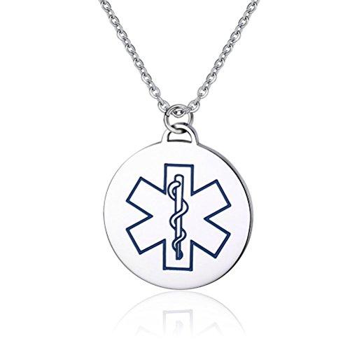 Vnox modifica rotonda Medical Alert ID Diabete collana del pendente con smalto blu, libero incisione