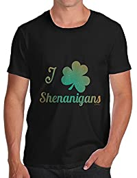 TWISTED ENVY Love Shamrock Shenanigans Irish Green Men's Novelty Cotton T-Shirt