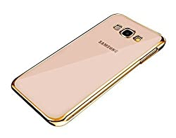 Johra ET-1210 Electroplated Edge Clear Soft Transparent Back Case Cover for Samsung Galaxy On7 Pro Back Cover Gold Golden