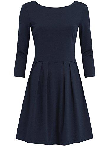 oodji Ultra Femme Robe en Maille Ajustée Bleu (7900N)