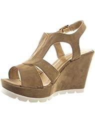 Sopily - Zapatillas de Moda Sandalias Zapatillas de plataforma correa Tobillo mujer multi-correa Talón Plataforma 9.5 CM - Caqui
