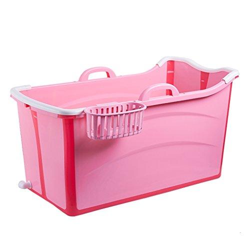 Baril de Bain Adulte Baignoire Pliable en Plastique Baignoires et sièges de Bain (Color : Pink)