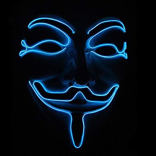 Samtlan Halloween Masken LED Leuchten Maske Leuchtende und Blinkende Unisex Cosplay V for Vendetta Maske für Halloween Christmas Party Costume Horror Mask, Blau