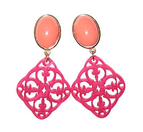 Orange-pinke sehr große leichte Clip-Ohrstecker Ohrringe vergoldet Stein korall-rot Anhänger pink Statement Fashion Glamour Designer JUSTWIN
