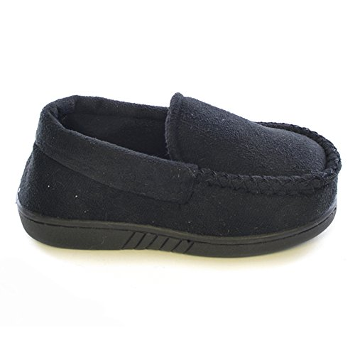 Childrens/Kids Boys Plain Loafer Slippers (UK Shoe 1, EUR 33) (Black)