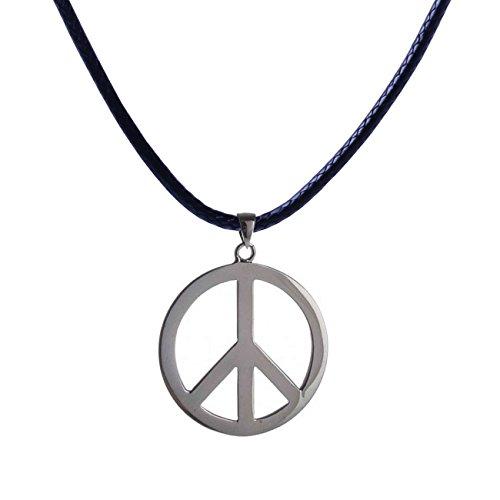 Peace Zeichen Anhänger mit Kette | schwarze Kette mit Peace-Sign | Statement Halskette Leder | Peace | (schwarz/silber) | (Großes Halskette Peace Zeichen)