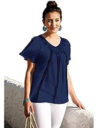 BELLÍSIMA Camiseta con guipur y Encaje Tallas Grandes Mujer - 025656