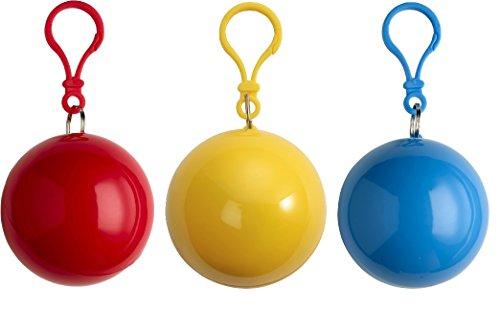 Preisvergleich Produktbild sinsey 3er Set Poncho Notfall-Poncho Regencape Regenponcho (rot - gelb - blau)