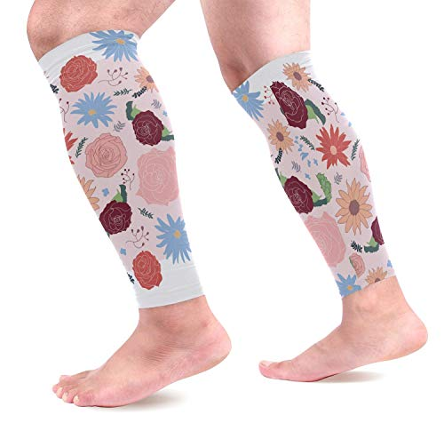 Wfispiy Floral Patterns Calf Compression Sleeves Shin Splint Support Leg Protectors Calf Pain Relief for Running, Cycling, Travel, Sports for Men Women (1 Pair) -