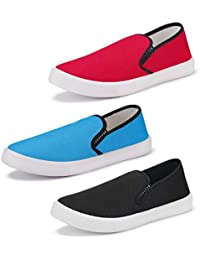 Bersache Men's Multicolor Combo Pack of 3 Casual Sneakers,Loafers,Sports,Boots Shoes