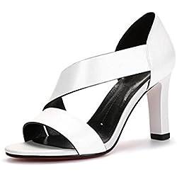 YEEY Women Sommer High Heel Sandals Open Toe Armband echt Leder Chunky Heel Club Bankett Shopping , white , 35