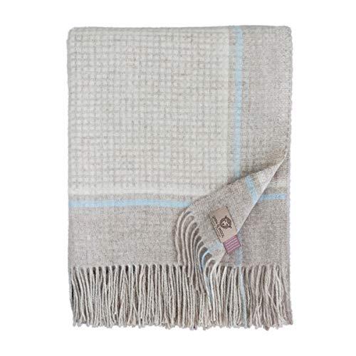 Linen & Cotton Weiche Warme Decke Wolldecke Merino Wohndecke Kuscheldecke Kariert Mosaic - 100% Weicher Merinowolle, Blau/Beige/Natur (140 x 200cm), Sofadecke/Tagesdecke/Überwurf/Schurwolle -