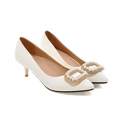 AllhqFashion Femme Tire à Talon Correct Pu Cuir Mosaïque Pointu Chaussures Légeres Blanc