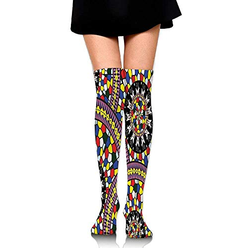 Vintage Style Mosaic Mandala Motifs With Lace Like Ornaments Ancient Floral Design Women's Fashion Over The Knee High Socks (60cm)