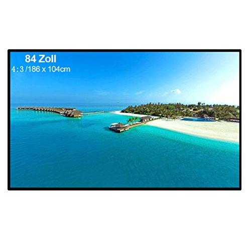 Excelvan - 84 Zoll Beamer Leinwand für Beamer Projektor (84 Zoll, 4 : 3 Format, 170 cm x 128 cm, für HD Full HD, Heimkino, Klassenzimmer, Konferenz, Präsentation)
