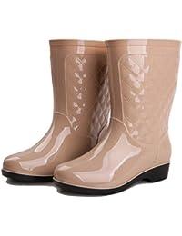NAN Regen Stiefel OverSlip Wasser Stiefel Student Gummi Schuhe Wasser Schuhe Wasserdichte Erwachsene Stiefel Weibliche Rohr ( Farbe : Schwarz , größe : EU35/UK3/CN34 )